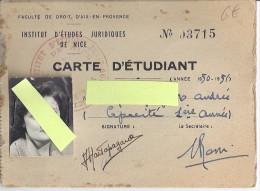 CARTE D'ETUDIANT  1950.51  Institut D'études Juridiques De NICE - Mappe