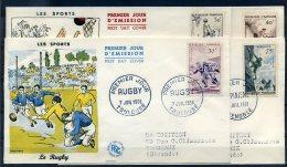 FRANCE 1956 PREMIER JOUR N° 1072/ 1075 LES 4 ENVELOPPES LES SPORTS