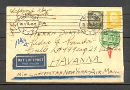 1934 , ALEMANIA, SOBRE CIRCULADO ENTRE HAMBURGO Y LA HABANA, CORREO AÉREO, VIA NUEVA YORK, AL DORSO VIÑETA HWH - Cartas