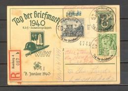 1940, ALEMANIA, ENTERO POSTAL DIA DEL SELLO, CERTIFICADO ENTRE HAMBURGO Y LA HABANA, VIA NUEVA YORK, LLEGADA - Cartas