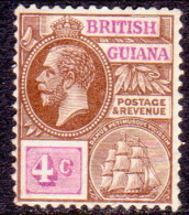 British Guiana 1922 SG #275 4c MH OG Wmk Mult Script CA - Guyana Britannica (...-1966)