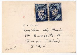 GREECE/GRECE - QSO/QSL CARD FROM ISLAND OF RHODES - 1953 / THEMATIC STAMPS-SHIPS - Grecia