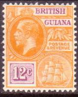 British Guiana 1922 SG #277 12c MLH OG Wmk Mult Script CA - Guyana Britannica (...-1966)