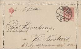 Österreich, 10 H Kartenbrief Steyr - Wiener Neustadt , 6 VII 07 - 1850-1918 Empire