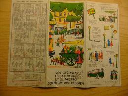 MAPA DE PARIS CON HORARIO DE LOS TRENES - VOYAGEZ AVEC LES BUS ET LE METRO AÑO 1962 - Folletos Turísticos