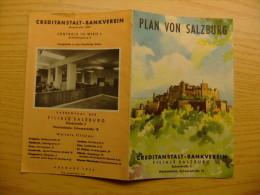 PLANO DE LA CIUDAD DE SALZBURGO - PLAN VON SALZBURG AÑO 1954 - Folletos Turísticos