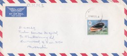 Aiututaki 1976 Shell On Cover Sent To Australia - Aitutaki