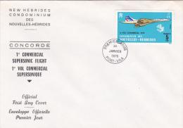 New Hebrides 1976 Concorde  FDC - FDC