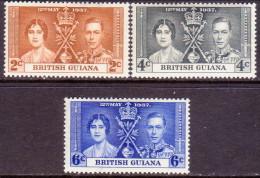 British Guiana 1937 SG #305-07 Compl.set MLH/MH OG Coronation - Guyana Britannica (...-1966)
