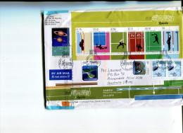 (221) Hong Kong Used Mini-sheet - Sport Mini-sheet On Cover (HK $18.60 Value + 17.20 Loose Stamps) - 1997-... Région Administrative Chinoise