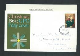 GREAT BRITAIN 18 OCT 1967 FDC CHRISTMAS  WITH EXPLANATION - FDC