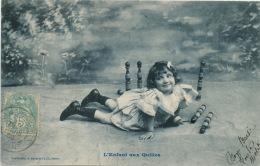 """ENFANTS - LITTLE GIRL - MAEDCHEN - Jolie Carte Fantaisie Portrait Fillette """"L'Enfant Aux Quilles """" - Edit. BERGERET - Portraits"""