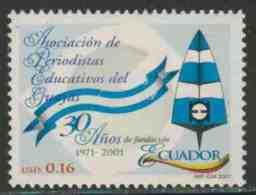 Ecuador 2001 Mi 2583 ** Emblem – 30th Ann. Guayas Educational Journalists Association (APEG) /  Band, Schreibfeder - Schrijvers