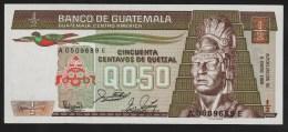 GUATEMALA 50 Centavos De Quetzal 06.01.1988 Serie A..E  P# 65 Tecun Uman Tikal Temple    UNC - Guatemala