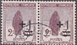 France Oblitération Cachet à Date N°  162 Profit Des Orphelins - Surchargé + 1 C - Veuve Au Cimetière - France