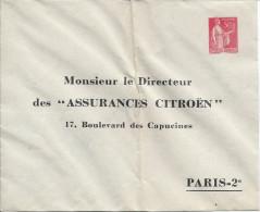 Entier Postal TSC, Citroên Assurance, REF B6a, Pliure Verticale Est NORMALE - Enveloppes Types Et TSC (avant 1995)