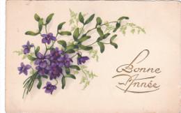 Carte Postale Ancienne Fantaisie - Bonne Année - Violettes - Gui - Nouvel An