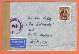 Airmail Luftpostbrief Wien - Zürich 10/1/1949? - 1945-60 Briefe U. Dokumente