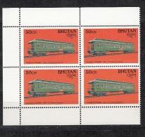 BHUTAN 1988, Transport Innovations, Railways Sleeping Car, Pullman Pioneer, 1 Value , 50ch, Block Of 4, MNH(**) - Treni