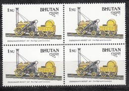 BHUTAN 1988, Transport , Railways, Stephenson's Rocket, First High Speed Locomotive, 1 Value , 1Nu, Block Of 4, MNH(**) - Treni