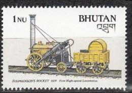 BHUTAN 1988, Transport , Railways, Stephenson´s Rocket, First High Speed Locomotive, 1 Value , 1Nu,  MNH(**) - Treni