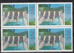 BHUTAN 1988, Chhukha Hydroelectric Power Project,, 1 Value , Block Of 4,   MNH(**) - Bhutan