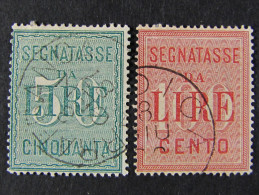 "(F)ITALIA Regno Segnatasse -1884- ""Cifra Bianca"" Cpl. 2 Val. US° (descrizione) - Impuestos"