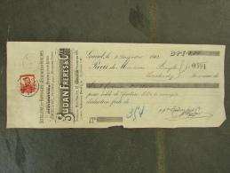 Facture Invoice Reçu Gent Gand Sudan Frères Hoogstraat Rue Haute Esseces Pour Autos 1912 - Belgique