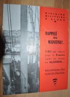 """Livret Propagande Algérie Française Division Militaire D'Alger """"Rappelé Ou Maintenu Toi Qui Repars Pour La France..."""" - Histoire"""