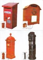 België, Maximumkaarten, Nr 4130/4134, Brievenbussen, Boîtes Aux Lettres (6174) - Dag Van De Postzegel
