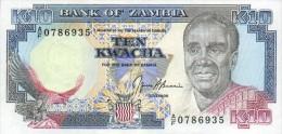 Zambia 10 Kwacha (1989-91) Pick 31b UNC - Zambia