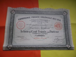 FRANCO COLONIALE DES RIZ (1928) MARSEILLE - Shareholdings