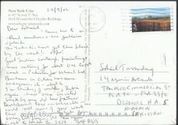 USA Post Card 2001 70c Nine-Mile Prairie Nebraska, New York City Post Card Sent To Pakistan. - Entiers Postaux