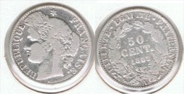 FRANCIA 50 CENTIMES  FRANCO 1882 A PLATA SILVER - 1789 – 1795 Monedas Constitucionales
