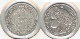 FRANCIA 50 CENTIMES  FRANCO 1881 A PLATA SILVER - 1789 – 1795 Monedas Constitucionales