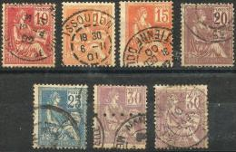 Mouchon - YT 113 à 117 Oblitérés - 1900-02 Mouchon