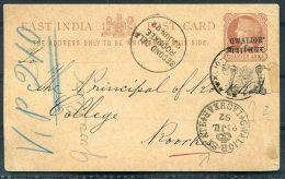 1881 India Gwalior QV Stationery Postcard Roorkee College Lashkar - India (...-1947)
