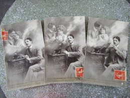 HOMME A LA CIGARETTE REVANT A SA BELLE / LOT  DE 3 CARTES / 1912 - Uomini