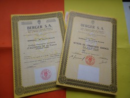 BERGER S.A. (action + Certificat) MARSEILLE - Unclassified