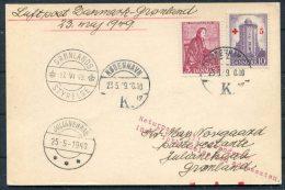 1949 (May 23rd) Greenland Denmark Copenhagen Gronlands Styrelse Julianehaab Experimental Flight Card - Briefe U. Dokumente