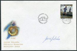 2002 Aland Gold Medal Athletics Marathon Signed FDC - Signature - Aland