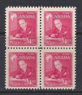 CANADA 1951, #304,  MNH,  William Lyon Mackenzie King, BLOCK OF 4  MNH - Blocks & Kleinbögen