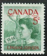 Canada, 1961, # 392,   Pauline Johnson,  Mohawk, Princess & Poet,  M NH - 1952-.... Règne D'Elizabeth II