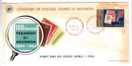 FDC Indonésie - 100 Tahun Perangko Di Indonesia - 1964 - Indonesia