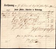 Alte Rechnung , Jakob Müller In Niederbipp  1867 , Schneider !!! - BE Bern