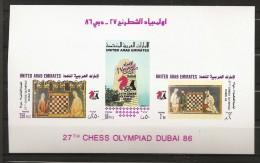 Emirats Arabes Unis Dubaï 1986 N° BF 5 ND ** Échecs, Jeu, Olympiade, Cheval, Cavalier, Tour, Grand Maître, JO, Roi, Fou - United Arab Emirates