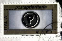 Italia 2003, Posta Prioritaria € 1,00 (o), Autoadesivo  Su Frammento - 6. 1946-.. Repubblica