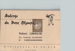 Carte De Visite ROBERT LIMAILHE Auberge Du Parc Olympique - Carcassonne 11 Aude - Scans Recto-verso - Visiting Cards