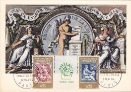 Carte Maximum FRANCE  N°Yvert  1414-15 (TYPEs BLANC Et MOUCHON) Obl Sp 1er Jour (Ed PR) - 1960-69