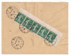 5 C. Semeuse, Bande De 5 Provenant De Carnet Obl. Sur Enveloppe Pour L'Allemagne - Storia Postale